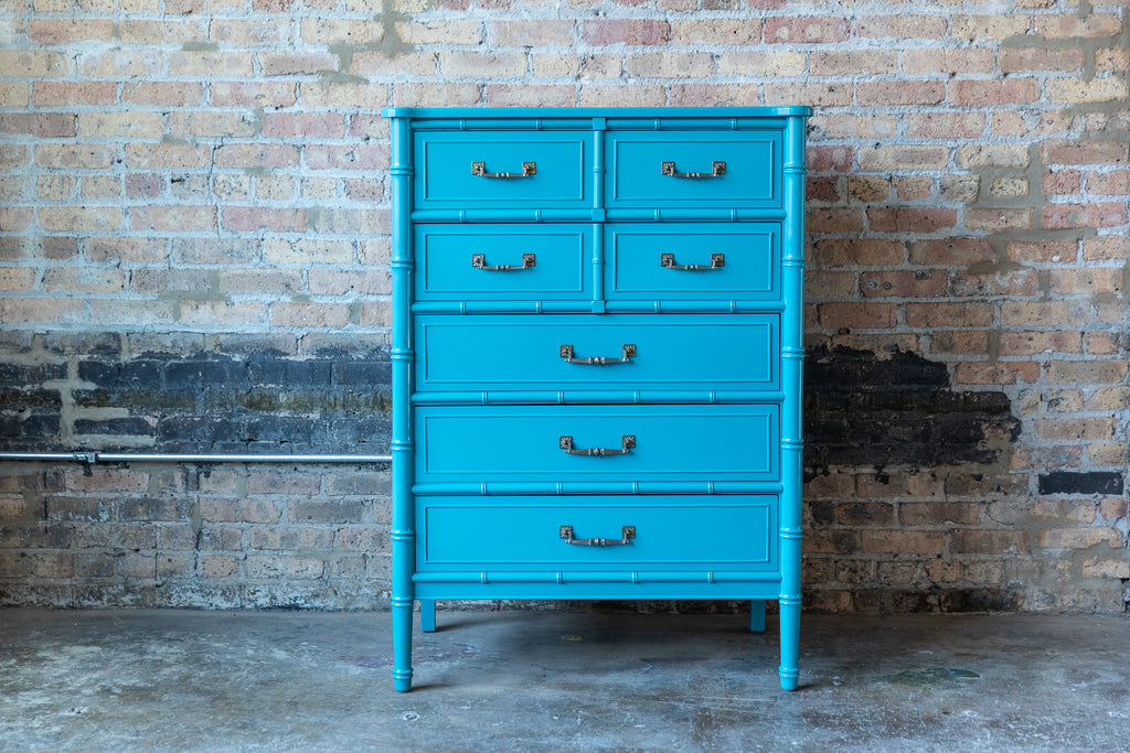 Henry Link Bali Hai Faux Bamboo Bedroom Furniture Turquoise Chicago mid-century modern