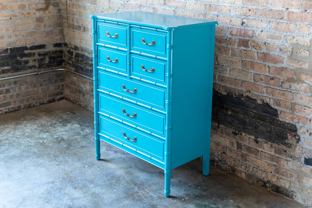 Henry Link Bali Hai Faux Bamboo Bedroom Furniture Turquoise Chicago mid-century modern palm beach glam