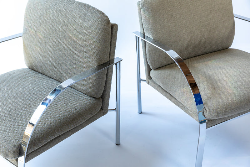 milo baughman chrome lounge chairs, Paul Tuttle, mid-century lounge chairs, chicago