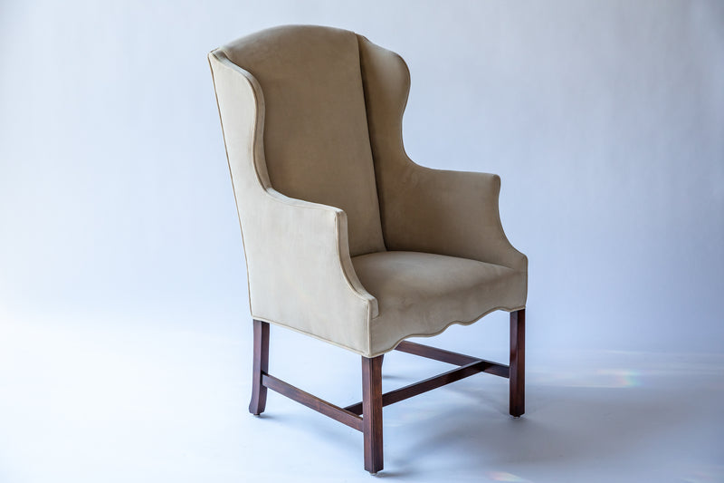 Mid-Century Slim Wingback Chairs - Set of 2