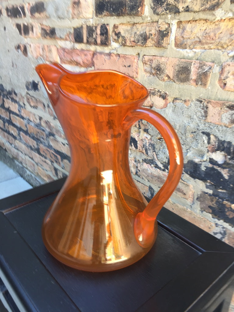 Orange Glass Blenko Pitcher