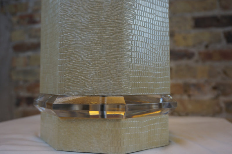 Large Octagonal Lamp with Faux Snake Skin