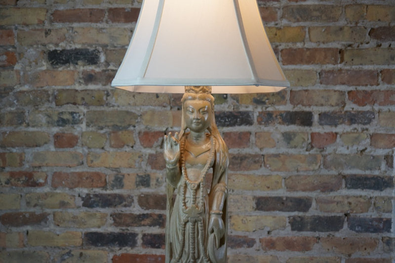 Tall Asian Figural Lamp on Black Base