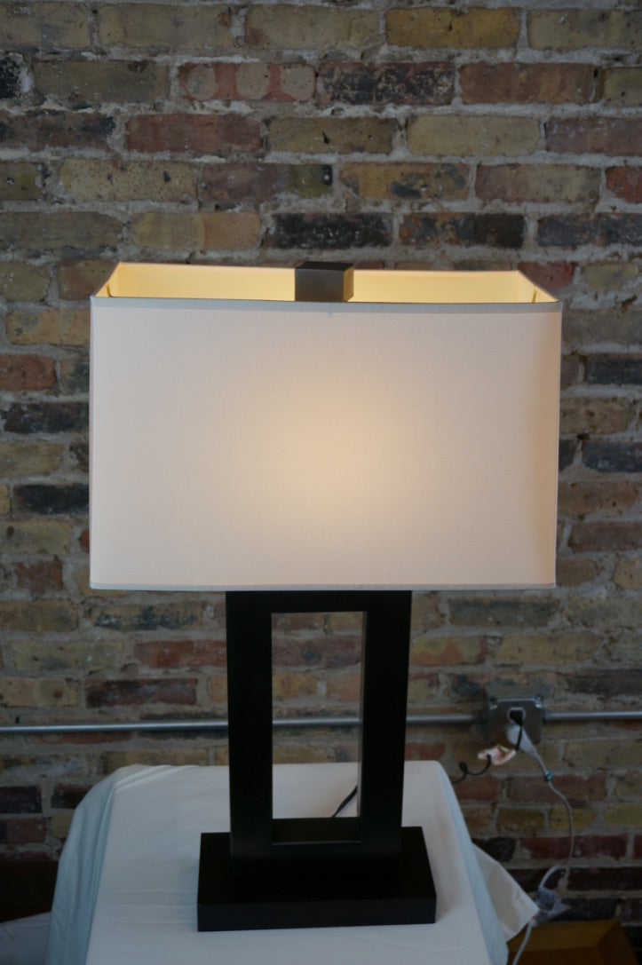 Geometric Metal Lamp with Bronze Finish and Ivory Shade