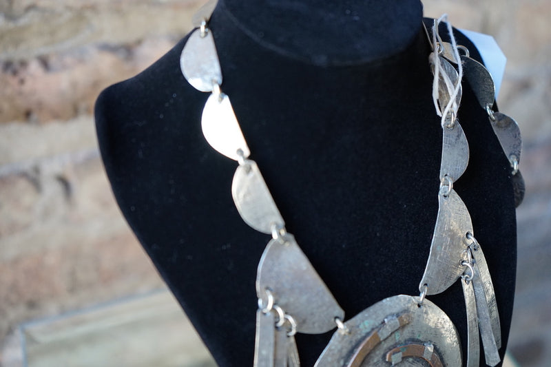 Signed Silver Lillo Brutalist Necklace