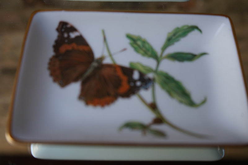 Limoge Butterfly Trinket Trays - a pair