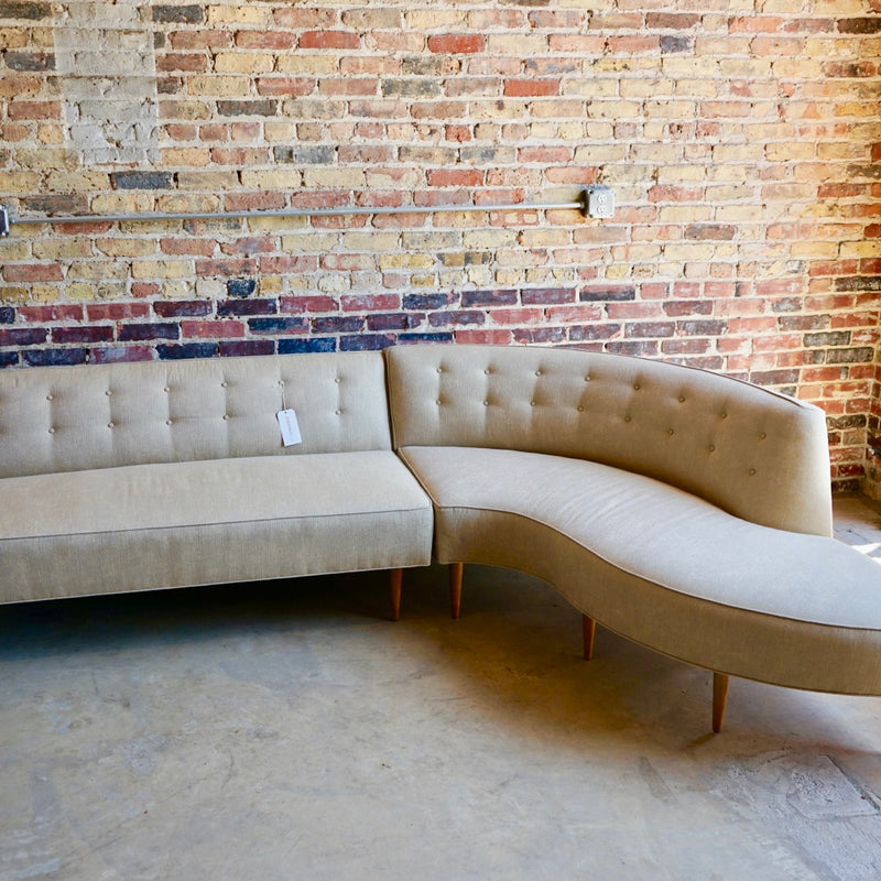 Mid-Century Curved Sectional Sofa