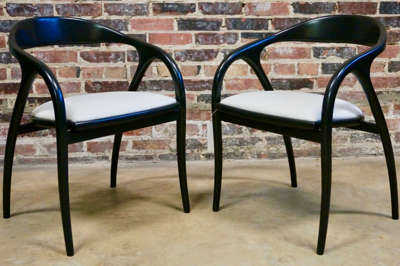 Pair of Black Lacquer Italian Side Chairs
