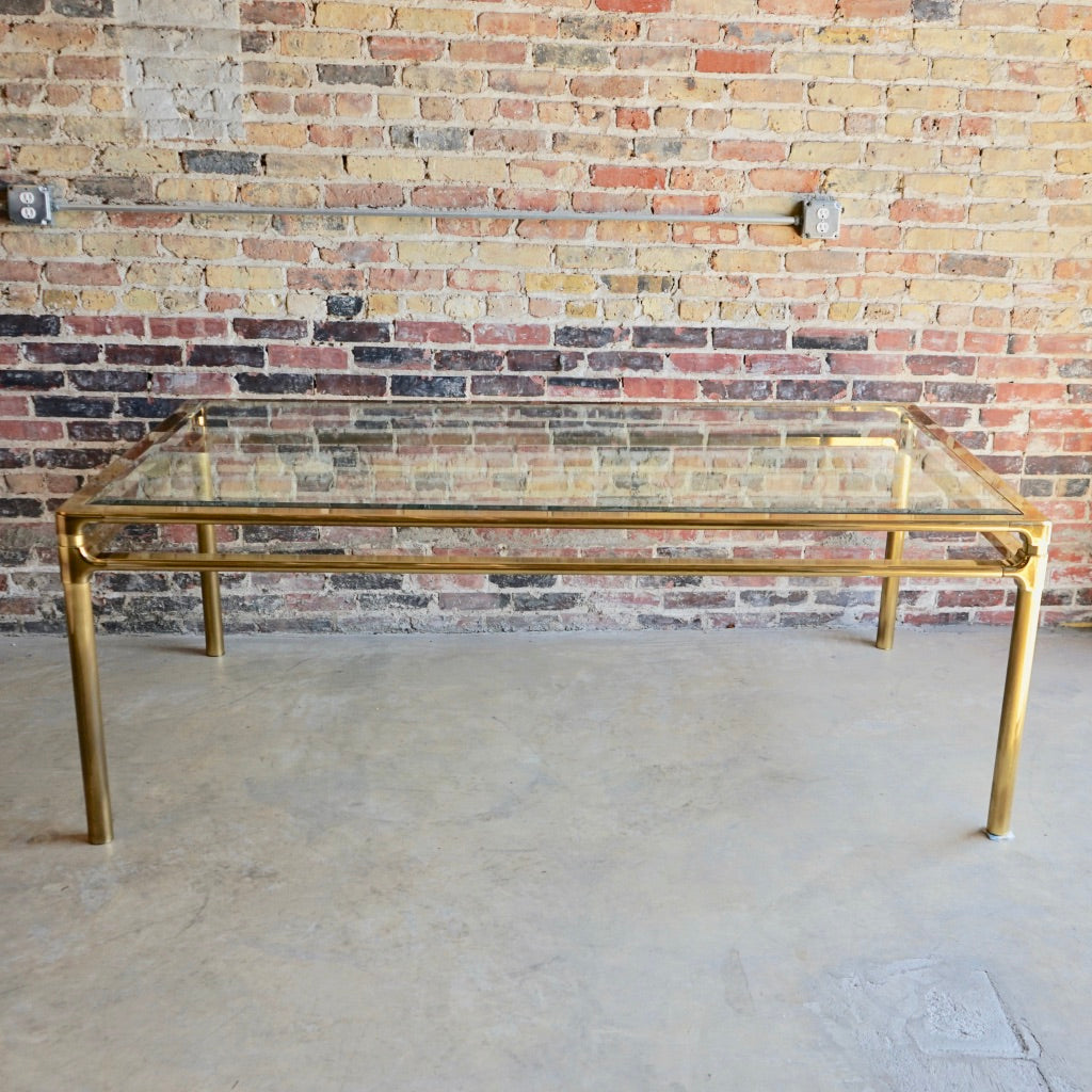 Mastercraft Brass and Glass Dining Table Chicago