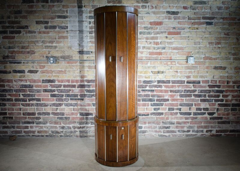 Tall Round Mid Century Bar Cabinet by Weiman