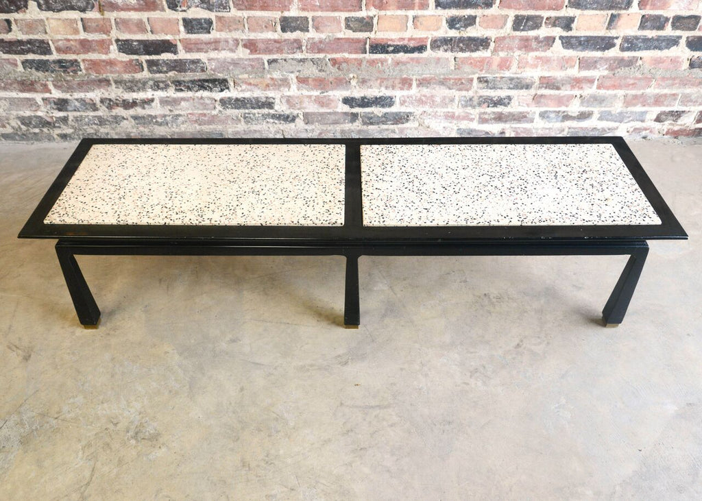 Asian Influenced Black Lacquer and Terrazzo Bench