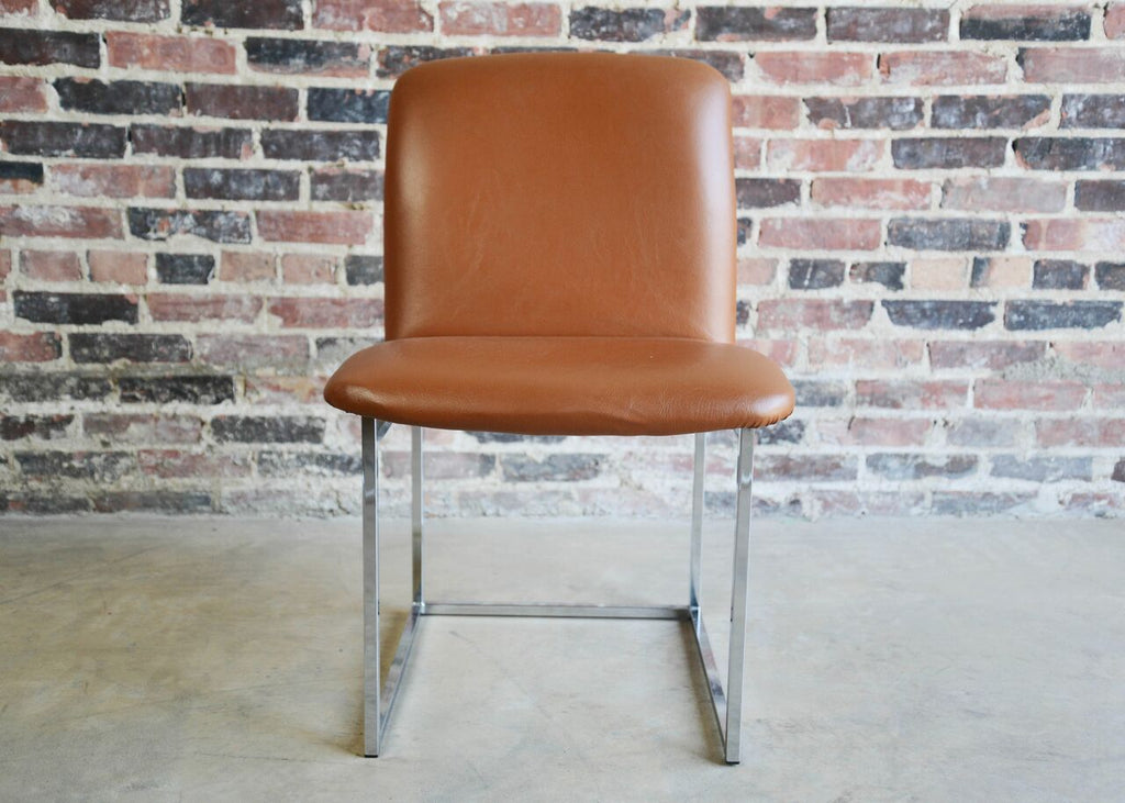 Milo Baughman Leather and Chrome Side Chair