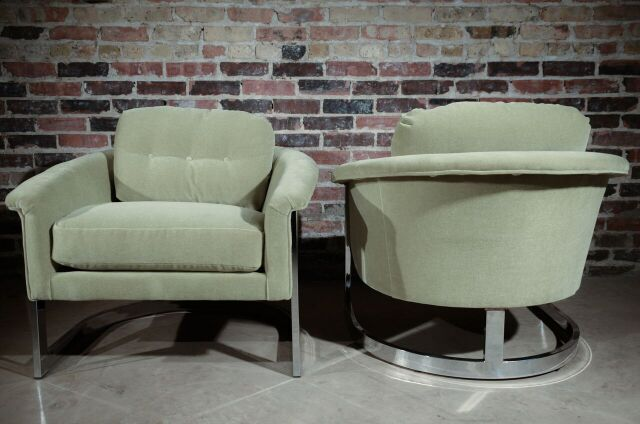 Pair of Mid Century Mohair and Chrome Selig Tub Chairs