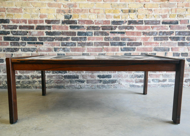 Danish Modern Abstract Tile and Rosewood Coffee Table
