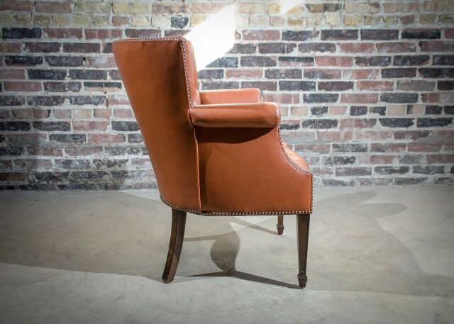 Baker Leather Wing Back Chair