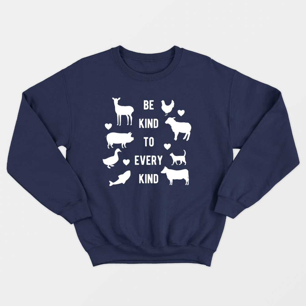 Be Kind To Every Kind - Vegan Sweatshirt (Unisex)-Vegan Apparel, Vegan Clothing, Vegan Sweatshirt-Vegan Outfitters-Vegan Outfitters
