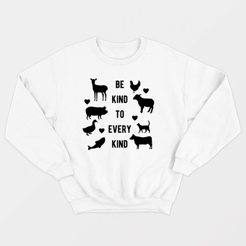Be Kind To Every Kind - Vegan Sweatshirt (Unisex)-Vegan Apparel, Vegan Clothing, Vegan Sweatshirt-Vegan Outfitters