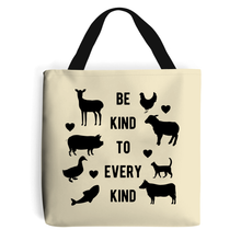 Load image into Gallery viewer, Be Kind To Every Kind - Vegan Tote Bag, Vegan Gift-Vegan Apparel, Vegan Accessories, Vegan Gift, Vegan Tote Bag-Vegan Outfitters