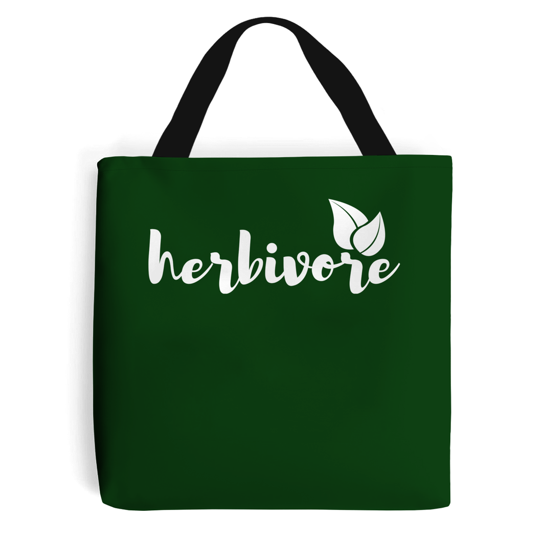 Herbivore Script Leaf - Vegan Tote Bag, Vegan Gift-Vegan Apparel, Vegan Accessories, Vegan Gift, Vegan Tote Bag-Vegan Outfitters