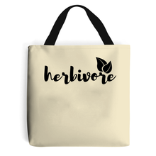 Load image into Gallery viewer, Herbivore Script Leaf - Vegan Tote Bag, Vegan Gift-Vegan Apparel, Vegan Accessories, Vegan Gift, Vegan Tote Bag-Vegan Outfitters