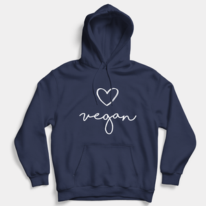 Vegan Heart Script - Vegan Hoodie (Unisex)-Vegan Apparel, Vegan Clothing, Vegan Hoodie-Vegan Outfitters