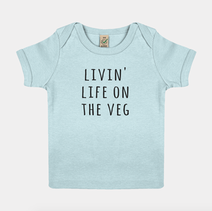 Livin Life On The Veg - Vegan Baby Shirt-Vegan Apparel, Vegan Clothing, Vegan Baby Shirt-Vegan Outfitters