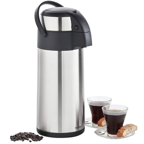 VonShef Thermal Airpot Carafe Coffee Beverage Dispenser Stainless Steel, Large 5 Liter or 170 fl oz Capacity