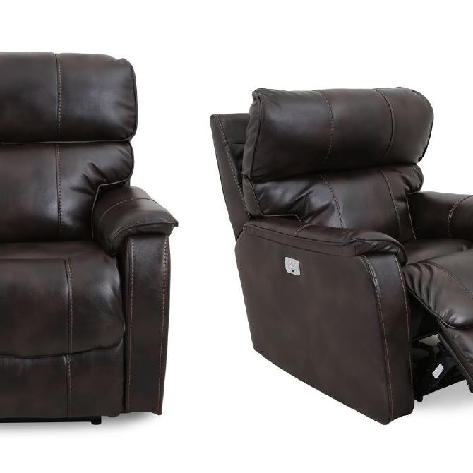 116-chocolate Power Recliner with Power Headrest