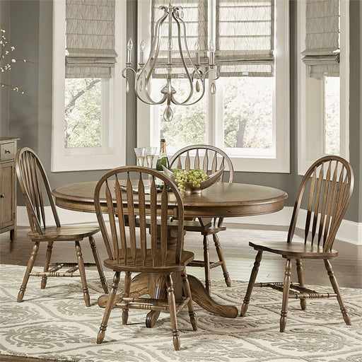 Carolina Crossing (186-CD) 5 Piece Pedestal Table Set