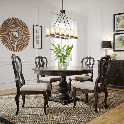 Chesapeake (493-DR) 5 Piece Pedestal Table Set