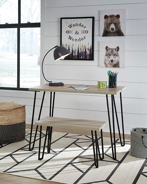Desk with Bench, Black Legs