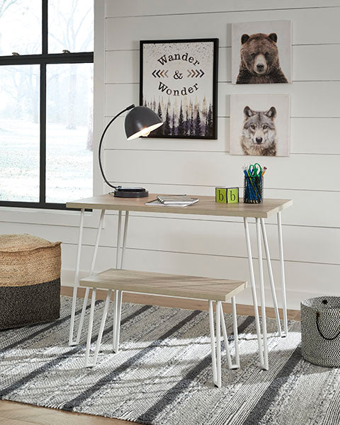 Desk with Bench, White Legs