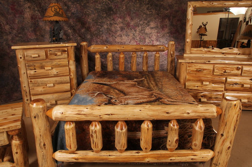 Amish Handmade Cedar Log Bed Queen King