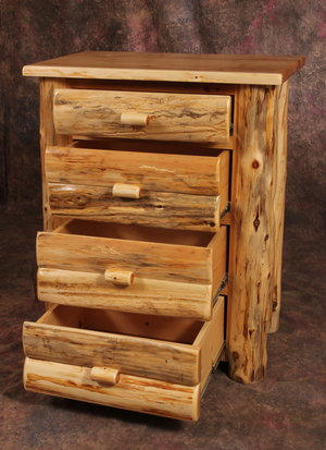 Amish Handcrafted Cedar Log Chest of Drawers 4 Drawer 5 Drawer