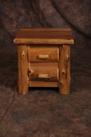 Amish Handcrafted Cedar Log Nightstand