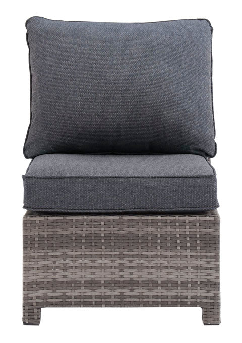 Armless Chair with Cushion, Gray