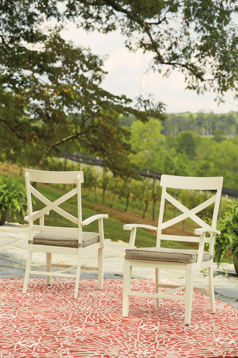Arm Chair with Cushion (2/Set), Antique White