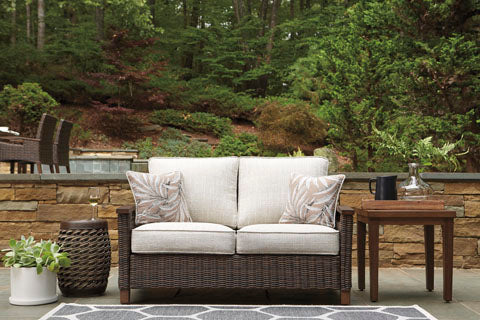 Loveseat with Cushion, Medium Brown
