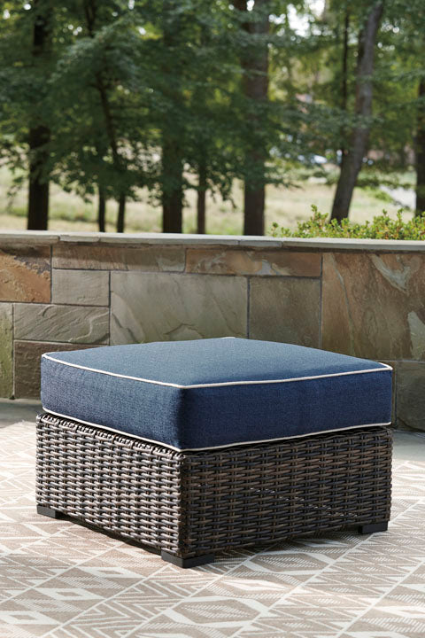 Ottoman with Cushion, Brown/Blue