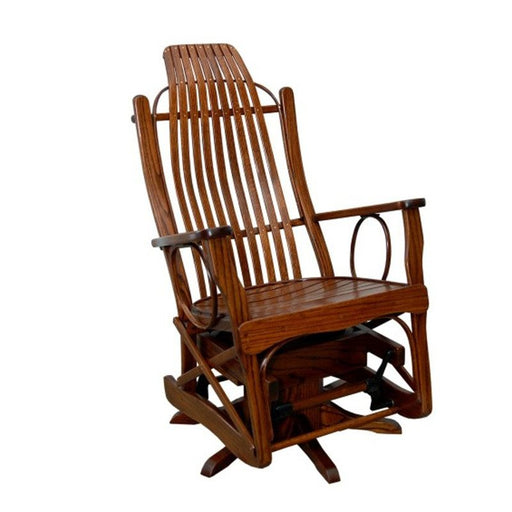 Amish Oak Maple Cherry Open Arm Swivel Glider Special Order