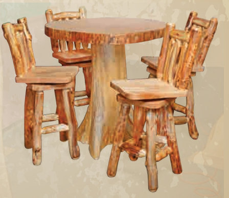 Countryside Rustic Barstools w/Back and Swivel