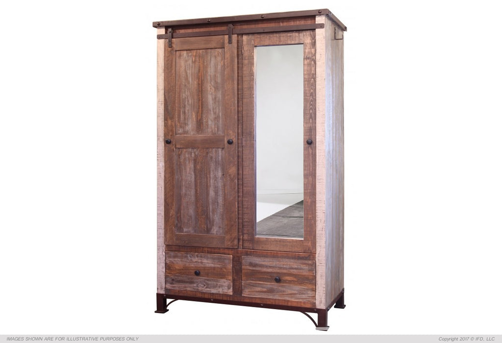 IFD 966 Antique 2 Drawer, 1 Sliding door, 1 Mirror Door Armoire