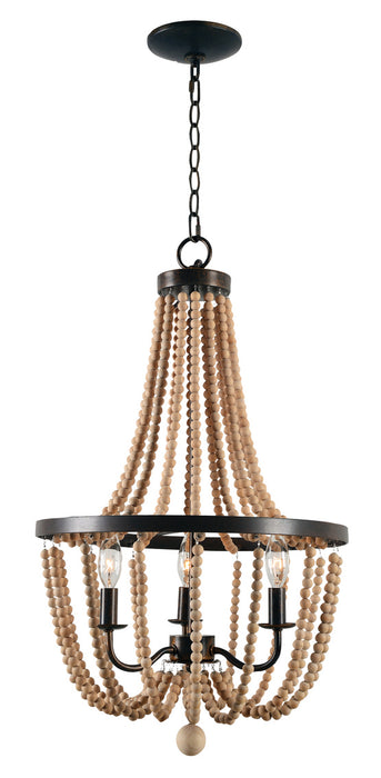 Regas 3 Light Wood Bead Chande