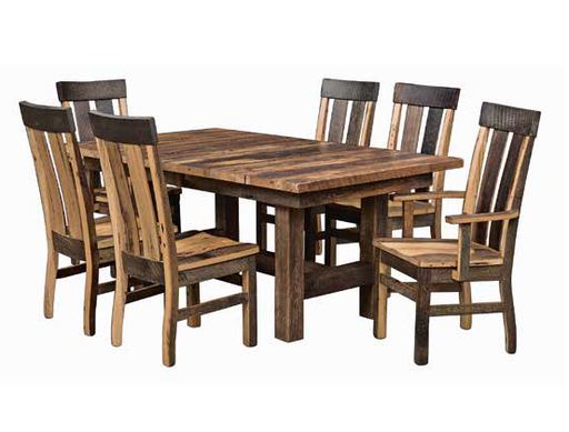 Amish Made Custom Reclaimed Barnwood Table Set