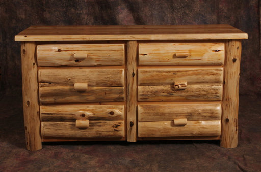 Amish Handcrafted Cedar Log Dresser 6 Drawers