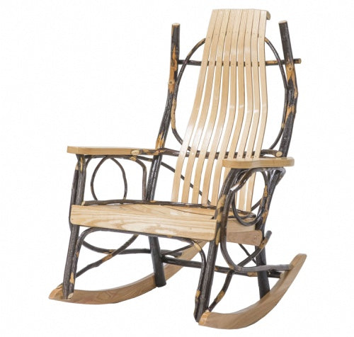 Amish 9 Slat Rocker-Oak/Hickory W/ Oak Arm