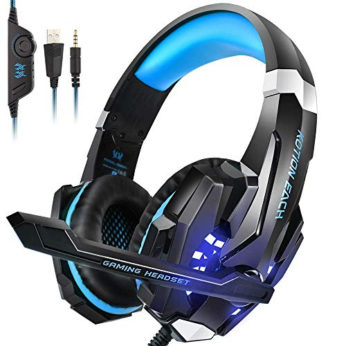 Gaming Headset Headphones with Mic LED Light & Volume Control for Xbox One PS4 PC (3.5mm Splitter Cable Included)-Supreme Wizardry