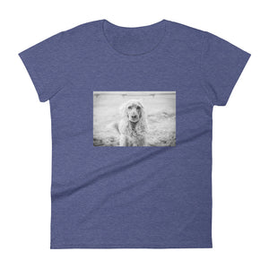 Women's Short Sleeve Black and White Emma Cocker Spaniel Tshirt