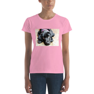 Women's short sleeve Black Labrador with Pink Collar Tshirt
