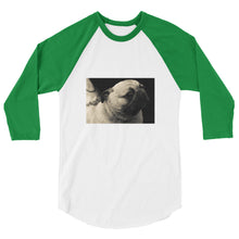Load image into Gallery viewer, 3/4 Sleeve Black and White Pug Tshirt Raglan